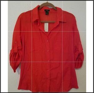 Ann Taylor red blouse nwt